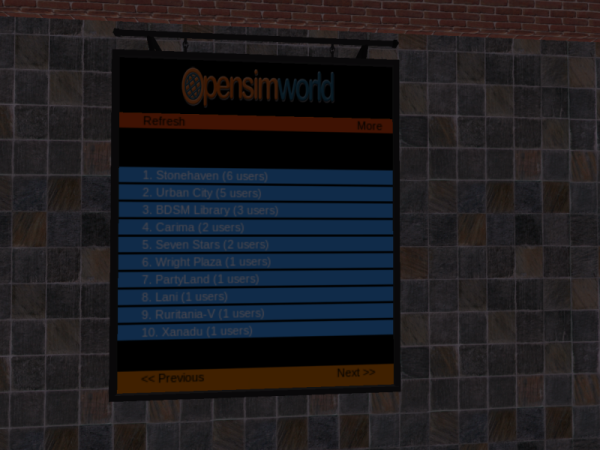 OpenSimWorld directory on Ocean Grid